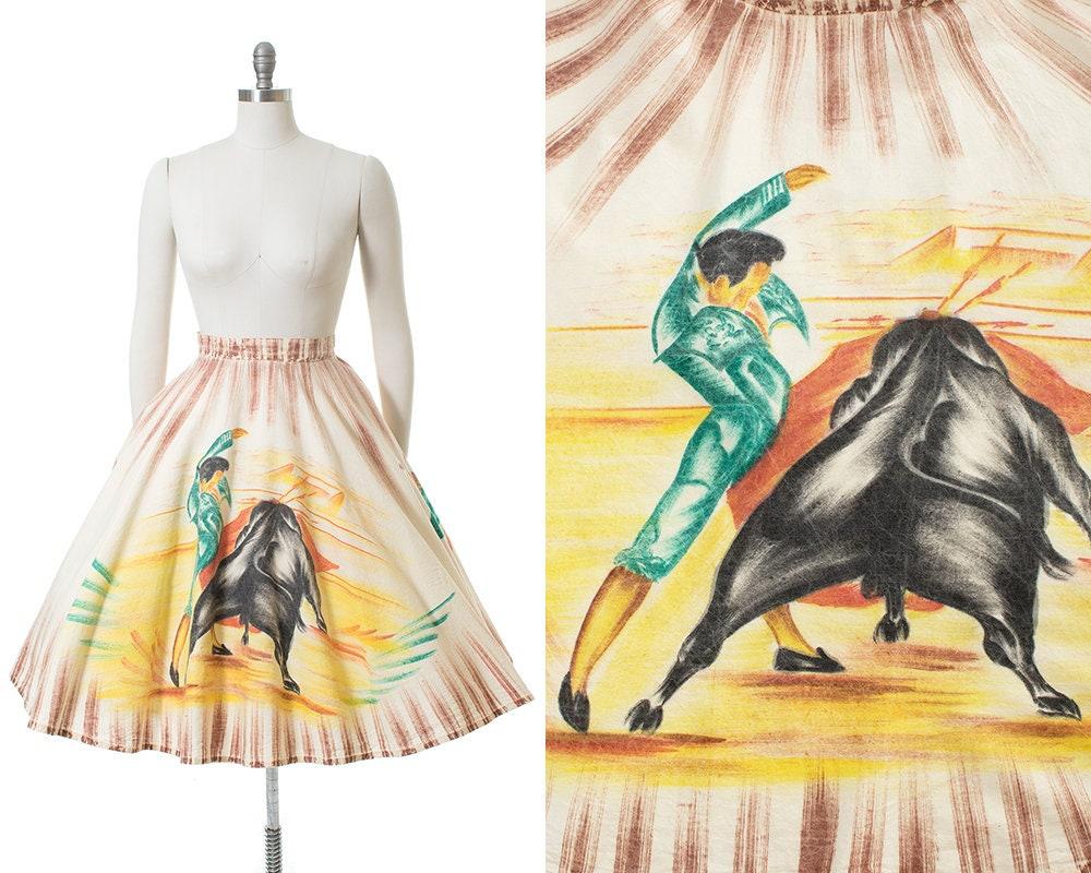 1950s Hats: Pillbox, Fascinator, Wedding, Sun Hats Vintage 1950S Circle Skirt  50S Mexican Hand Painted Bullfighter Torero Novelty Print Cotton Souvenir  xsSmallMedium $20.00 AT vintagedancer.com