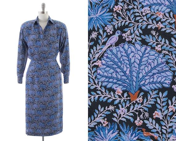 Vintage 1980s Wrap Dress | 80s does 40s Bird Flora