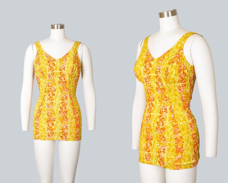 716cfd82d911 Vintage 1960s Swimsuit 60s ROSE MARIE REID Rose Floral Print