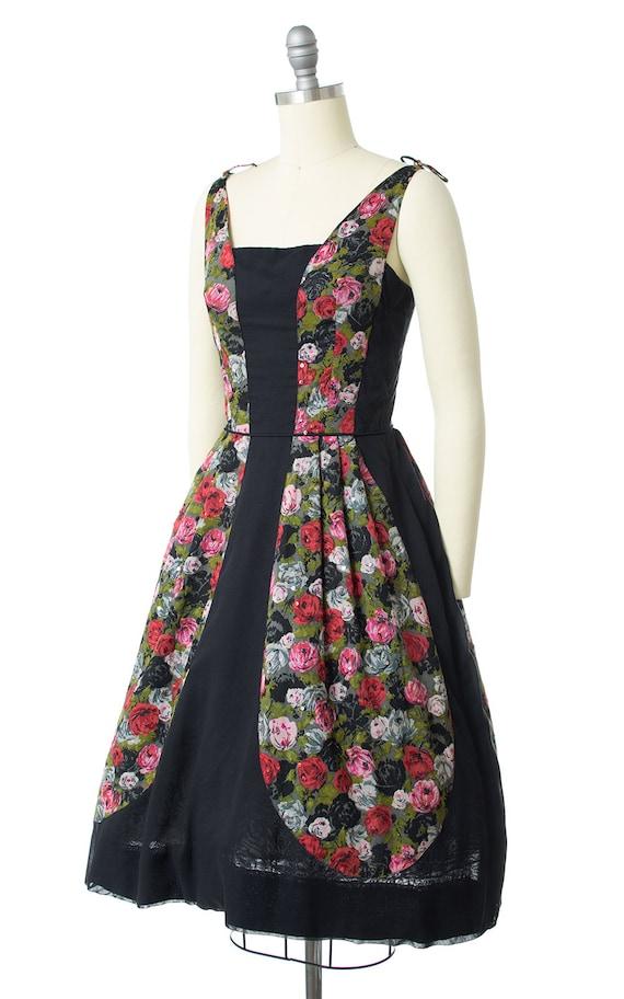 Vintage 1950s Dress | 50s Rose Floral Printed Cot… - image 3