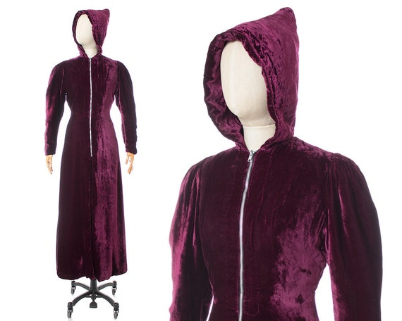Vintage 1930s Hooded Princess Coat | 30s Purple Si
