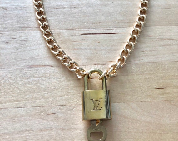 Gorgeous 100 Percents Authentic Louis Vuitton Lock With Gold Chain Choker by Etsy