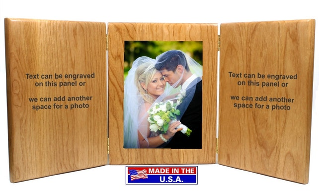 Tri Fold Picture Framepersonalized Picture Frameengraved Picture