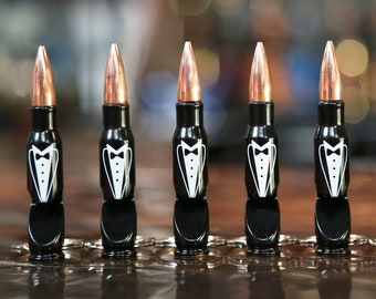 Tuxedo Groomsmen Gift Bullet Keychain. One Engraved 7.62mm Bullet Key Chain Bottle Opener. Personalization available. Groomsman Gift.