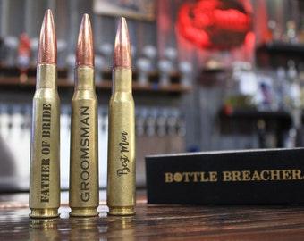 Groomsmen Gift. 6 Vintage 50 Caliber Bullet Bottle Openers. Groom Gift. Father of the Bride Gift. Groomsmen Gift