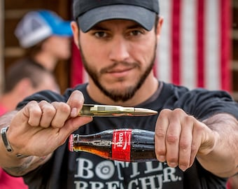 Christmas Gift American Flag 50 Caliber Bullet Bottle Opener. Perfect Gift for the Beer loving Dad. Made in USA.