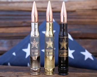 Christmas Gift Soldier. U.S. ARMY® .50 Caliber Bullet Bottle Opener. Custom Engraved gift for Military. Armed Forces. Boyfriend. Dad