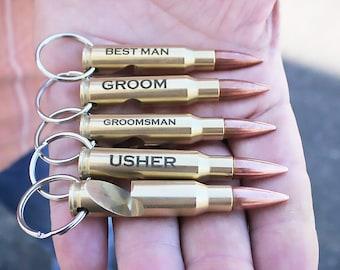 One Engraved 7.62mm Bullet Key Chain Bottle Opener. Groom Gift. Father of the Bride Gift. Groomsman Gift. Wedding Gift