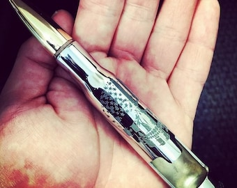 American Flag Skull 50 Caliber Bullet Bottle Opener. Hand Crafted. USA. Custom Father's Day Gift. Gift for Him. Christmas gift for him.