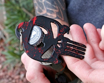Unique Christmas Gift! Punisher Keychain Steel Bottle Opener. Hand Crafted in the USA by Veterans! Beer Drinker Gift.