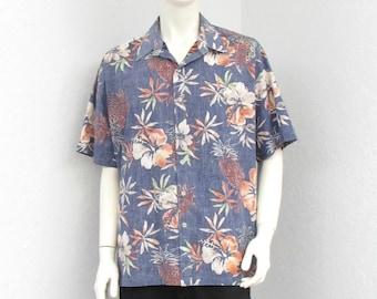 Vintage Tori Richard Dark Blue Hawaiian Shirt, Pineapple Print Aloha Shirt, Reverse Print Floral Shirt, Rockabilly Shirt, Resort Wear XL