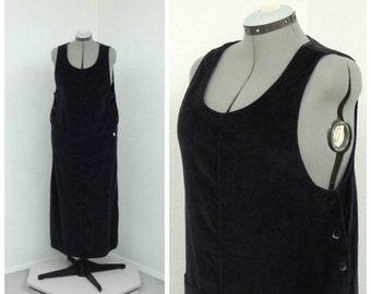 06a8fd26151 Vintage 80s Plus Size Dark Green Corduroy Jumper Dress Midi