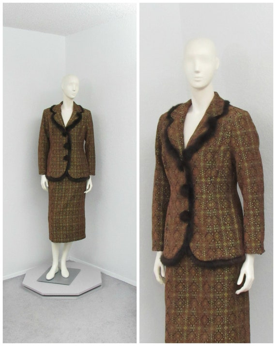 Vintage 90s Donna Vinci Brocade Brown Skirt Suit,