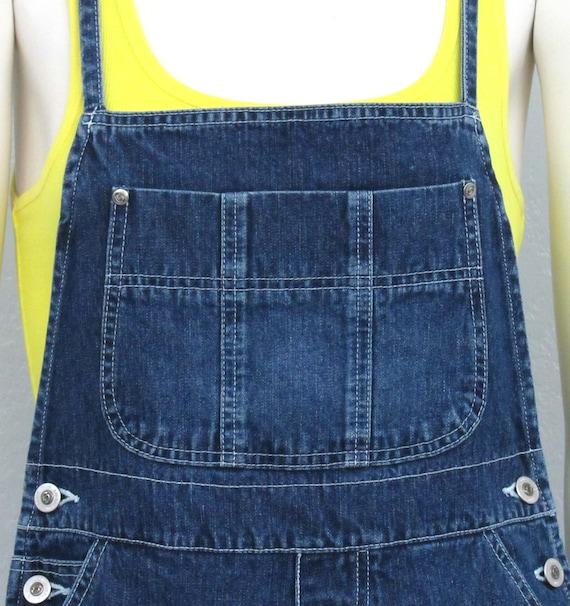 Vintage 90s Denim Short Overalls, Tie Back Overal… - image 3