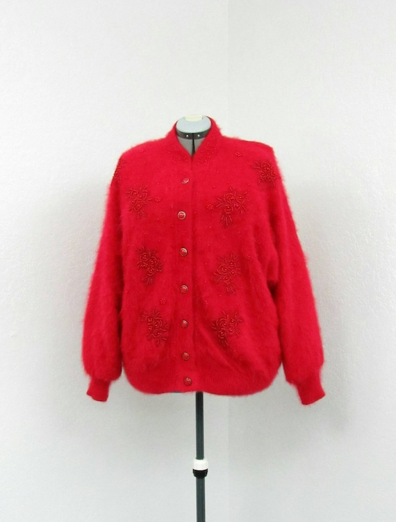 Vintage 80s Plus Size Red Cardigan Sweater, Angora