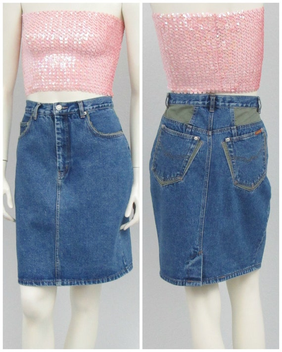 Vintage 80s Jordache Denim Skirt, Green Patches, F