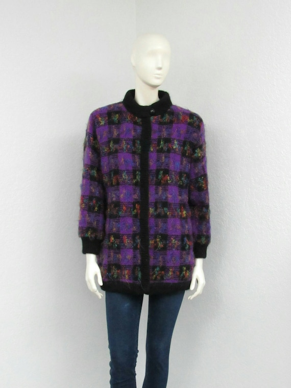 Vintage 80s Purple and Black Checked Cardigan Swea