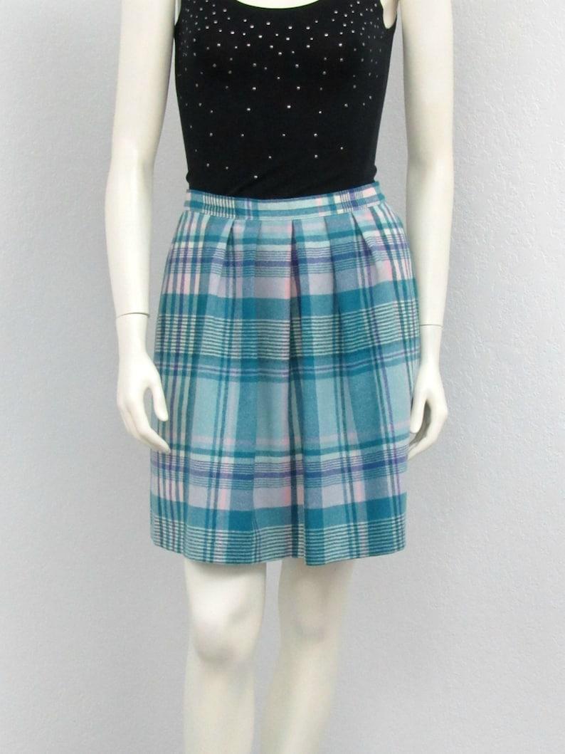 28b7e6bd2f Vintage 70s Pendleton Teal Wool Plaid Pleated Skirt Pleated | Etsy
