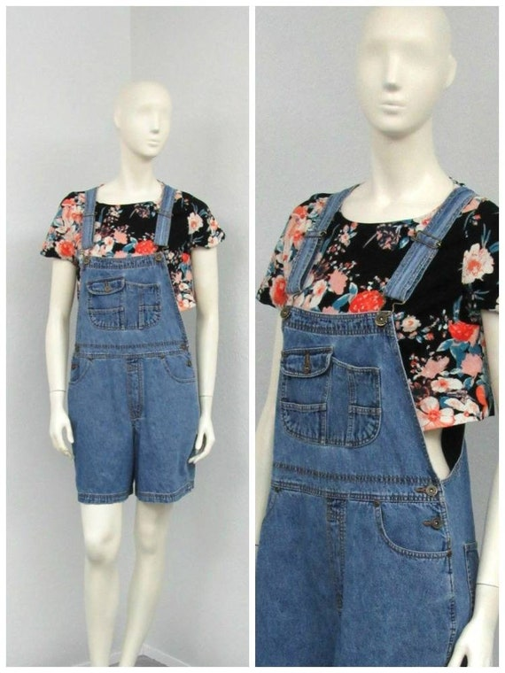 Vintage 90s Denim Short Overalls, Overall Shorts,