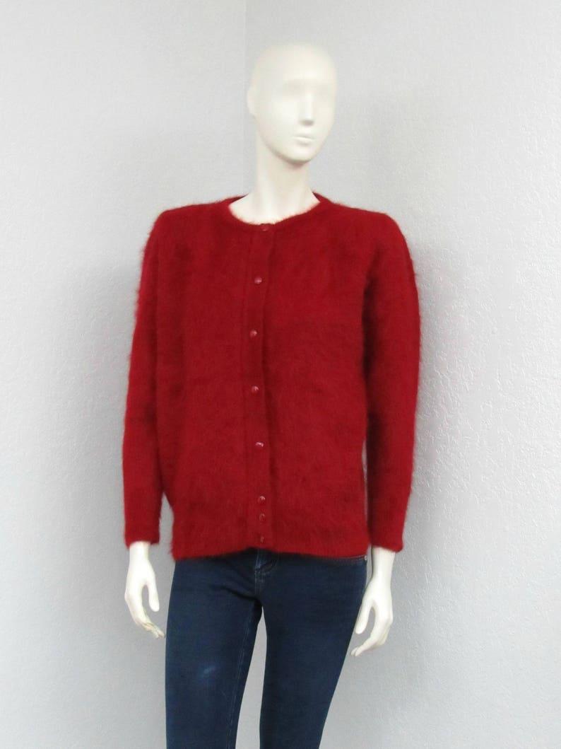 Fuzzy Cardigan Angora Sweater Oversized Cardigan Puff Sleeve Cardigan Christmas Sweater Vintage 80s Red Cardigan Sweater Knit Cardigan