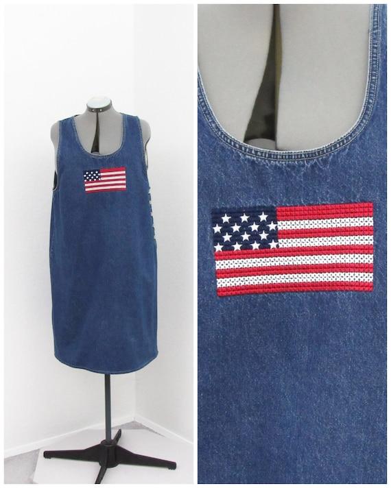 Vintage 90s Denim Jumper Dress, American Flag Patr