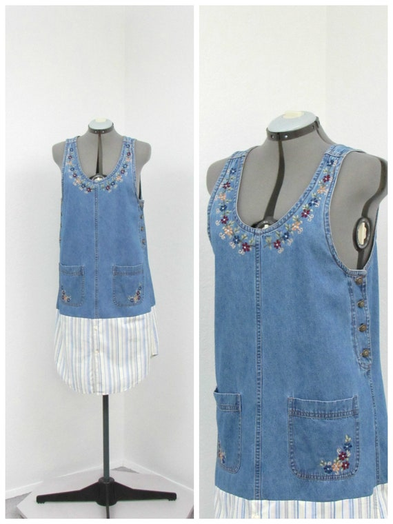 Vintage 90s Denim Jumper Dress, Embroidered Dress,