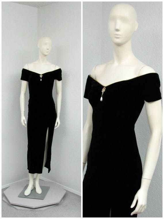 15f8a1a6e4 Vintage 80s Black Velvet Dress Maxi Dress Off Shoulder