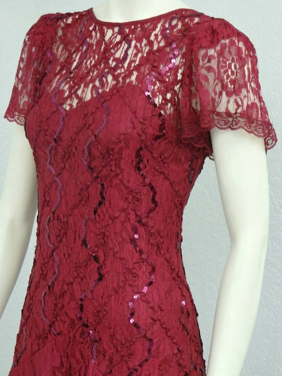 Vintage 80s Does 20s Maroon Sequin Dress, Lace Dr… - image 2