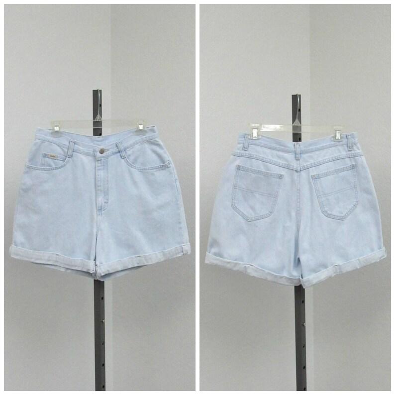 Blue Jean Shorts Cuffed Shorts Vintage 90s Riders Light Wash High Waisted Denim Shorts 31 Waist High Rise Shorts Short Shorts