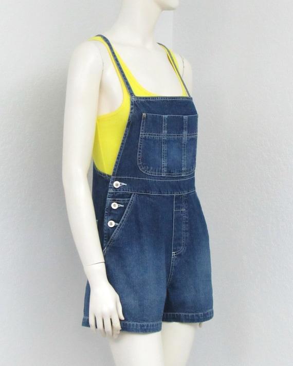 Vintage 90s Denim Short Overalls, Tie Back Overal… - image 4