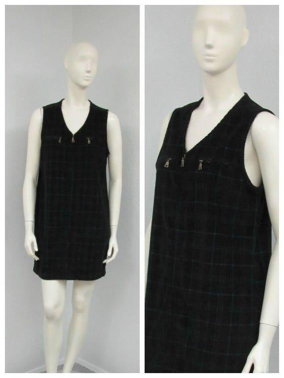 Vintage 90s Black Plaid Jumper Dress, Corduroy Jum