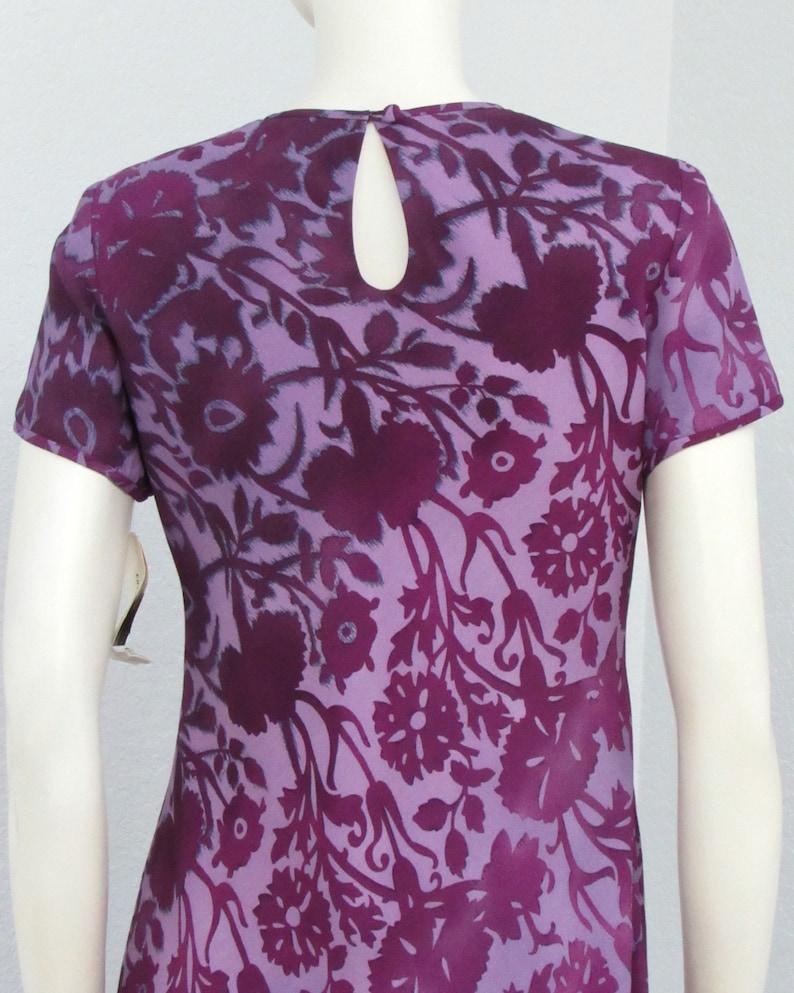 Vintage 90s Grunge NOS Liz Claiborne Purple Floral Dress Tiered Dress Bias Cut Dress Shirt Dress Keyhole Back Dress Maxi Dress