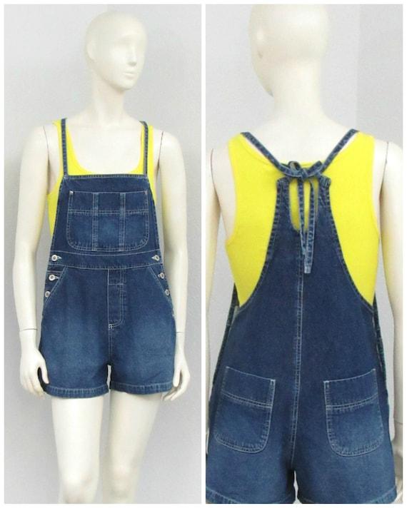Vintage 90s Denim Short Overalls, Tie Back Overall