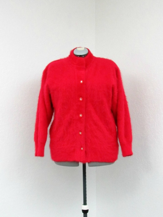 Vintage 80s Plus Size Red Angora Sweater, Cardigan