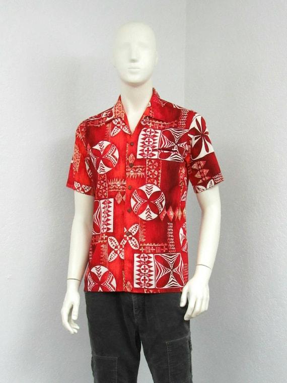 Vintage 50s Don Loper Hawaiian Shirt, Red Aloha Sh