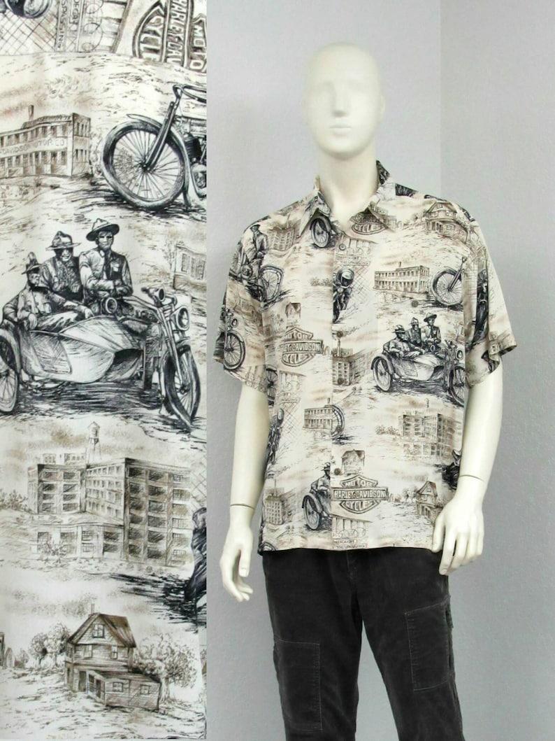 b364f970660 Vintage 80s Ecru Harley Davidson Hawaiian Shirt, Motorcycle Shirt, Novelty  Print Shirt, Aloha Shirt, Biker Shirt, Resort Wear, Size L