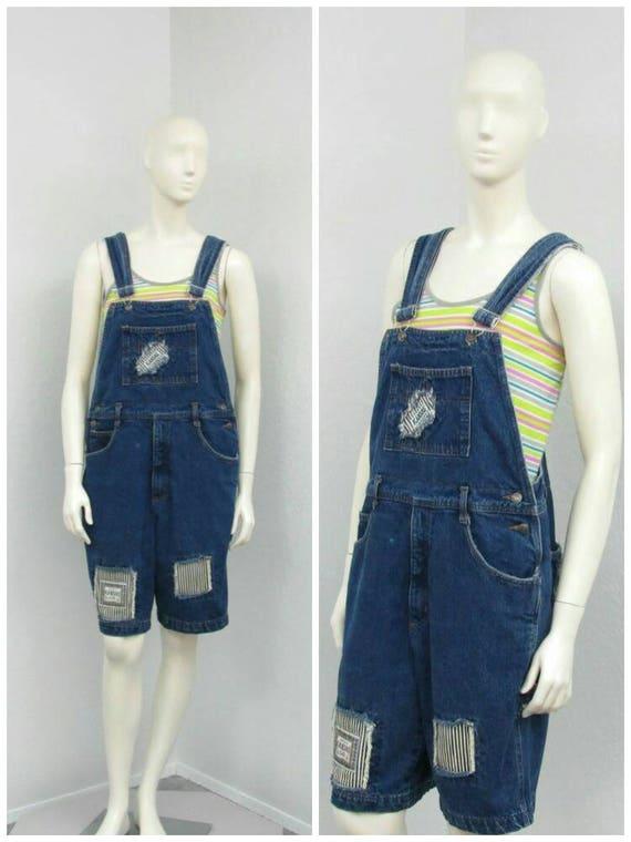 Vintage 90s Madison Denim Short Overalls, Striped