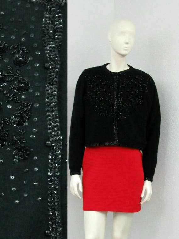Vintage 80s Does 50s Black Sequin Beaded Cardigan