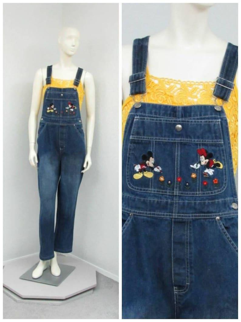 7df5c816063 Vintage 90s Disney Overalls Denim Overalls Mickey Mouse
