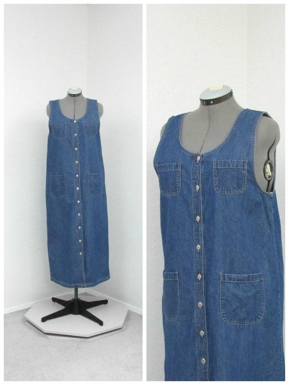 Vintage 90s Denim Jumper Dress, Jean Jumper, Denim