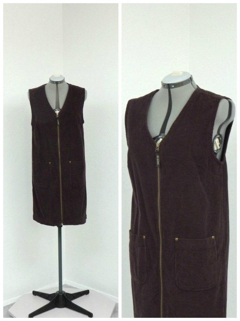 2cb219a1ca Vintage 90s Dark Brown Corduroy Jumper Dress Overall Jumper