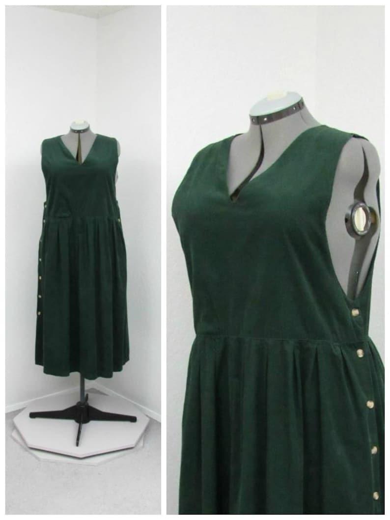 2f6bfbeff2d Vintage 80s Plus Size Dark Green Corduroy Jumper Dress Midi
