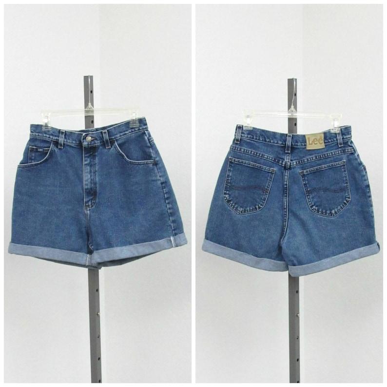 High Rise Shorts Cuffed Shorts Short Shorts High Waist Shorts 29 Waist Vintage 90s High Waisted Denim Shorts Blue Jean Shorts
