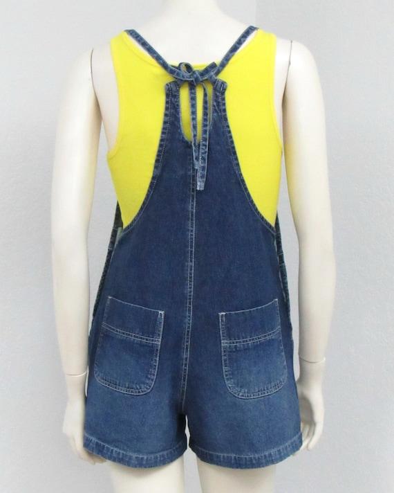 Vintage 90s Denim Short Overalls, Tie Back Overal… - image 6