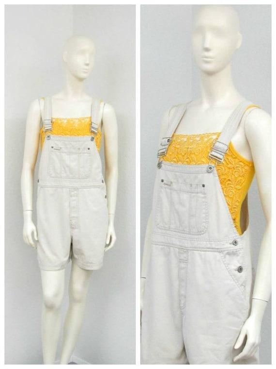 Vintage 90s Khaki Overalls, Short Overalls, Overal
