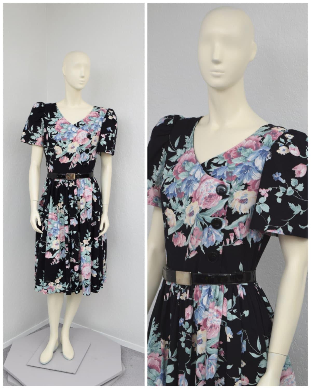 80s Dresses | Casual to Party Dresses Vintage 80S Cute Black Floral Midi Dress, Puff Sleeve Full Skirt Tea Length Summer Spring Dress $0.00 AT vintagedancer.com