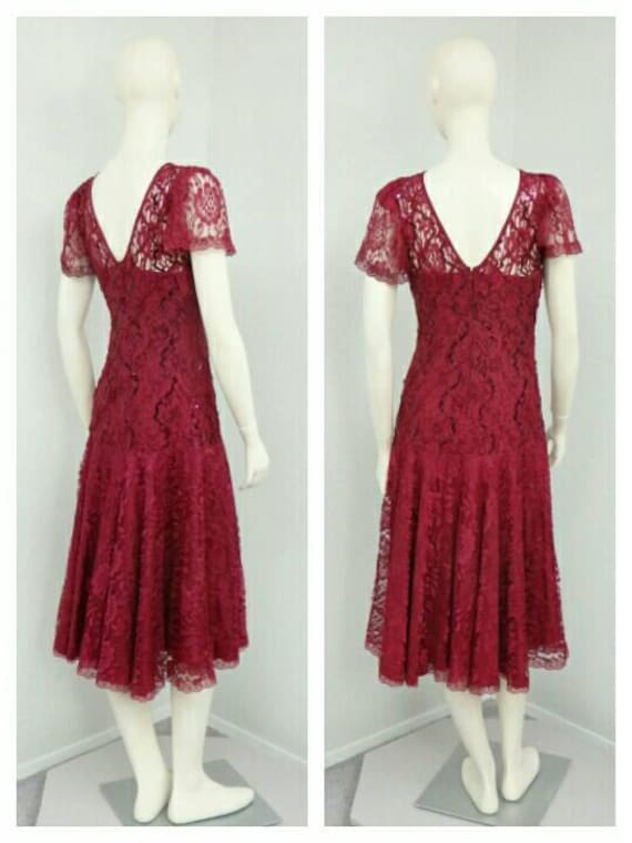 Vintage 80s Does 20s Maroon Sequin Dress, Lace Dr… - image 5