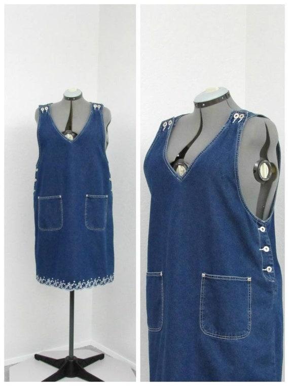 e519b577582b3 Vintage 90s Embroidered Denim Jumper Dress Overall Dress