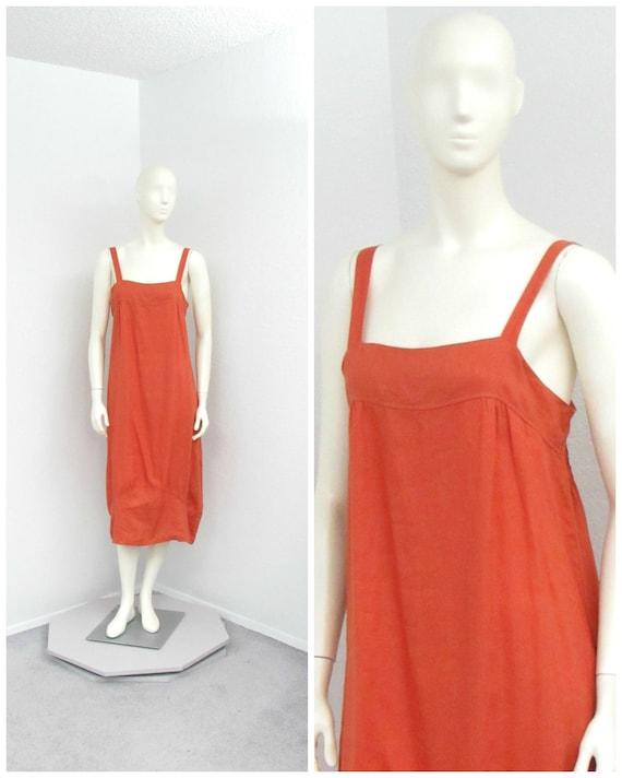 Vintage 90s Linen Burnt Orange Jumper Dress, Cocoo