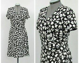 Vintage 90s Black and White Wrap Dress, Silk Dress, Floral Dress, Polka Dot Dress, Party Dress, Knee Length Dress, Jacquard Dress